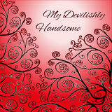 Red greeting card template with floral ornament. My Devilishly Handsome Royalty Free Stock Photos