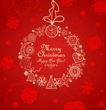 Red greeting card with xmas vintage wreath Royalty Free Stock Images