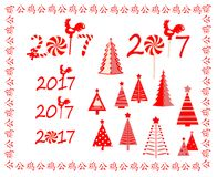 Red greeting for 2017 New Year. Red greetings for 2017 New Year Stock Photos