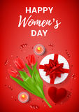 Red greeting poster for Women`s Day Stock Image