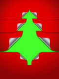 Red greeting with stickers shaping christmas tree Royalty Free Stock Photos