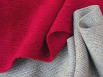 Red and grey. Folded wool background Royalty Free Stock Images