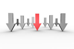 Red and grey arrows pointing down Royalty Free Stock Photo