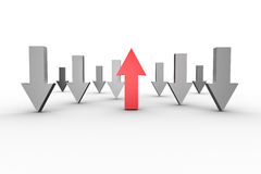 Red and grey arrows pointing up and down Stock Photos