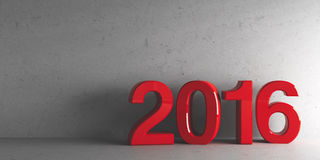 Red 2016. On grey background, represents the new year 2016, three-dimensional rendering Royalty Free Stock Images