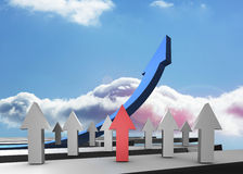 Red grey and blue arrows pointing up Stock Images