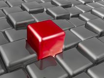 Red and grey cubes. As abstract background, 3D illustration Vector Illustration