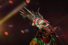 Red Grey Feathered Festival Mask Stock Image