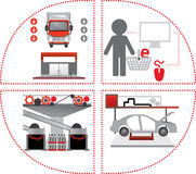 Red-grey logistics icons. Delivering cargo Stock Photography
