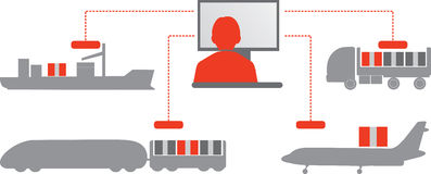 Red-grey logistics icons. E-commerce. Stock Photography