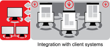 Red-grey logistics icons. Few computers. Integration with client systems Stock Photo