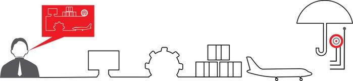 Red-grey logistics icons. Man and his idea. Brainchild royalty free illustration