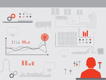 Red-grey logistics icons.  Man near the Dashboard Royalty Free Stock Photos