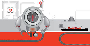 Red-grey logistics icons. Robot. Delivering cargo Stock Image