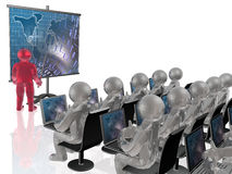Red and grey mans with laptops and screen Royalty Free Stock Photo