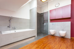 Red and grey modern bathroom. With wooden floor Royalty Free Stock Photo