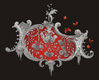 Red and Grey Royal Ornament Royalty Free Stock Photos
