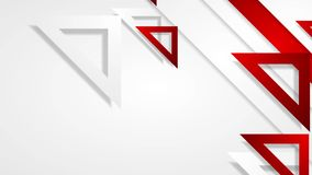 Red and grey triangles abstract geometric video animation