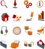 Red Grey web internet icons Royalty Free Stock Photos