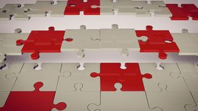 Red, Grey, White Puzzle Floor. An abstract 3d rendering of a grey and red floor composed of puzzles placed askew. Two rows of puzzles are absent.The background Royalty Free Stock Photos