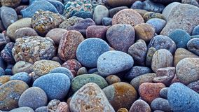 Red, grey, yellow and blue rocks. On the Ontario lake shore. Macro. Color rocks is in the middle Stock Photo