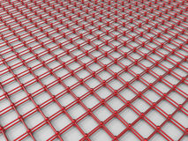 Red grid networking concept. 3D render illustration of a red grid network. The composition is isolated on a black reflective background Stock Photography
