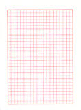 Red grid paper. Sheet of grid paper with fine red lines Stock Photo