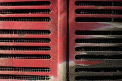 Red tractor grill and grime stock images