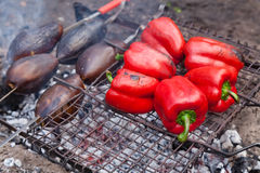 Red grilled pepper and eggplants on bbq Royalty Free Stock Images