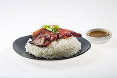 Red grilled pork  with rice Royalty Free Stock Photos