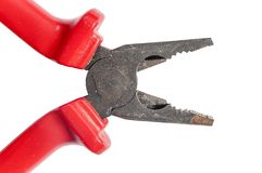 Red grip steel engineer equipment pliers with clipping path. For work construction Royalty Free Stock Photos