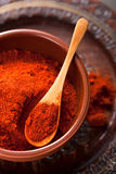 Red ground paprika spice in bowl Stock Photography