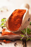 Red ground paprika spice in wooden scoop Royalty Free Stock Photography