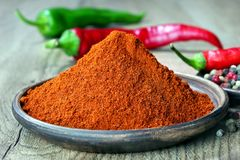 Red ground pepper. close up. Traditional cuisine of a healthy diet stock photography