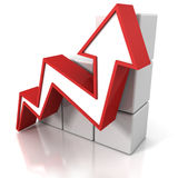 Red growing arrow and cubes business bar chart Royalty Free Stock Photo