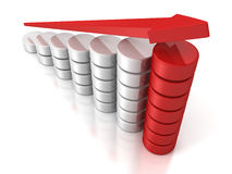 Red growing arrow on success business bar chart. 3d Stock Photography