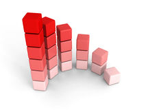 Red growing round bar chart graph on white background. 3d render illustration Stock Images