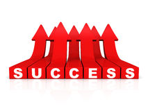 Red growing success word arrows on white background Stock Photos
