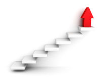 Red growing up success arrow and upstairs steps ladder. 3d render illustration Stock Photography