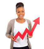 Red growth arrow. Happy african woman with red growth arrow pointing up Royalty Free Stock Images