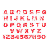 Red grunge alphabet rubber stamp, isolated on white background.  vector illustration