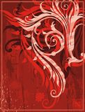 Red grunge background. With floral element for design Stock Image