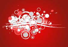 Red grunge background. Grunge composition from circles, blots and strips on a red background Stock Photos