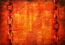 Red Grunge Background with Heavy Chain Stock Photos