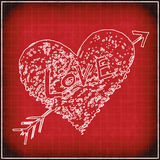 Red grunge background with white abstract heart Stock Photography