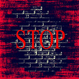Red grunge background with word STOP inside. Royalty Free Stock Photos