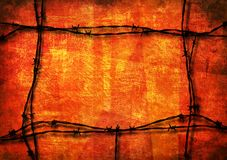 Red grunge with barbed wire. Red grunge background framed with barbed wire stock photos