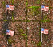 Red grunge brick with and United States flags for border wall protection concept. Red grunge brick stone with United States flags for border wall concept royalty free stock images