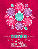 Red grunge Christmas card with snowflakes, stars and greetings Stock Photos