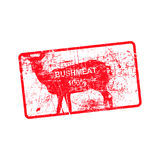 Red grunge dirty rubber stamp with a deer silhouette. Red grunge dirty rubber stamp with a deer silhouette and word BUSHMEAT 100 Royalty Free Stock Image